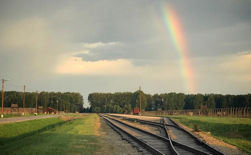 Rainbow captured over Auschwitz.