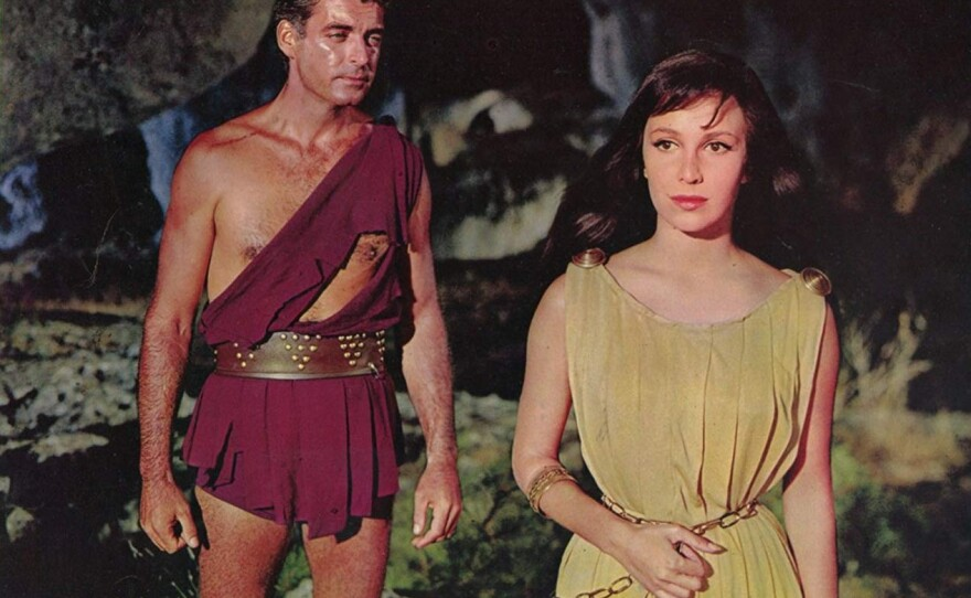 """Rory Calhourn stars as Dario and Lea Massari as Diala in Sergio Leone's feature film debut """"The Colossus of Rhodes,"""" a peplum or sword and sandal film."""