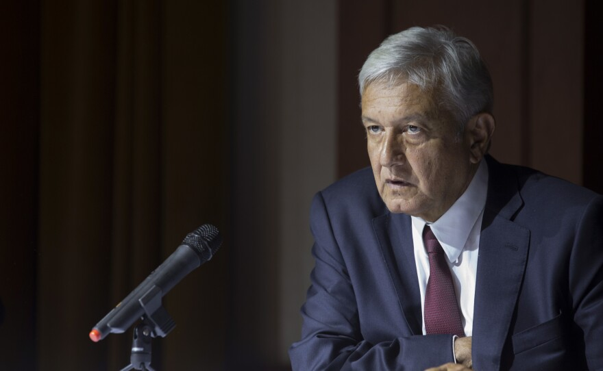 Mexico's President-elect Andres Manuel Lopez Obrador gives a press conference in Mexico City, Thursday, July 5, 2018.