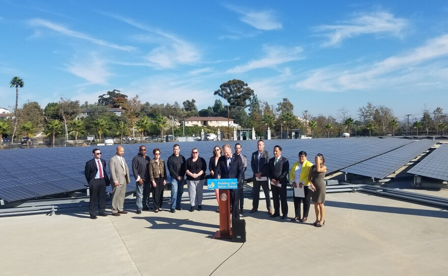 San Diego Mayor Kevin Faulconer announces his decision to pursue a community choice program, Oct. 26, 2018.