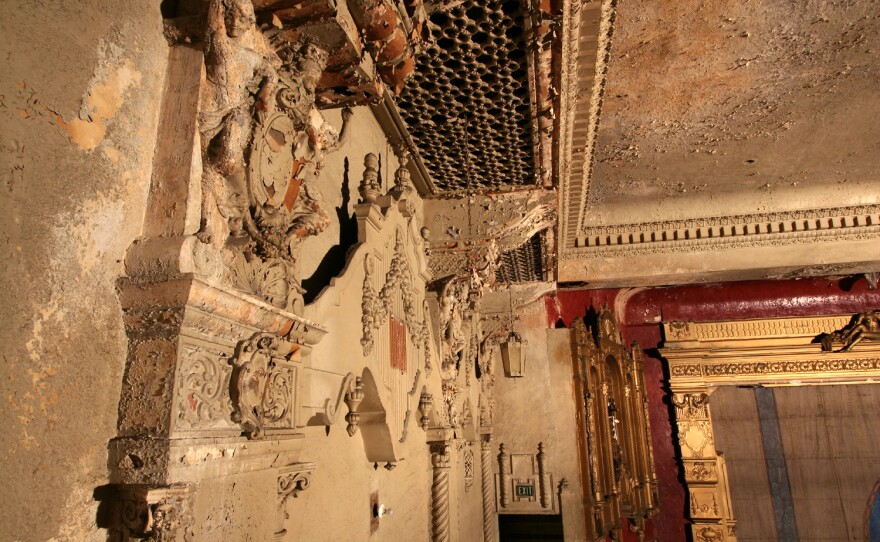 Another view of the extensive damage to the walls and ceiling of the California Theatre. Since this photograph was taken five years ago, the damage is likely to be much worse.