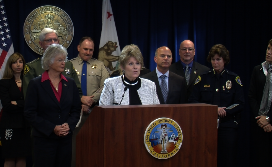 District Attorney Bonnie Dumanis and other San Diego County law enforcement officials and leaders announce the launch of a new task force to combat human trafficking, Jan. 20, 2015.
