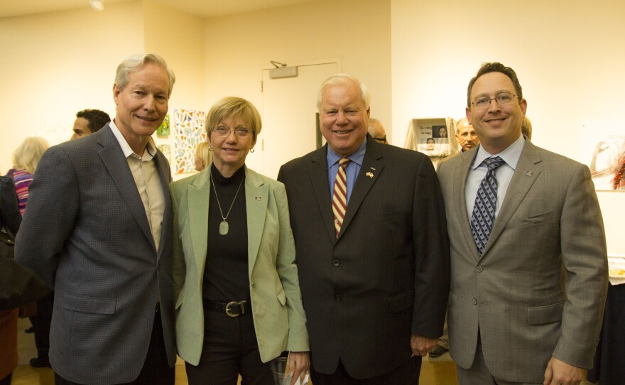 Craig Watson, Director, CA Arts Council, Jacquelyn Kilpatrick, Founding Director, CSUSM School of Arts, County Supervisor Bill Horn, and Adam Shapiro, Deanof CSUSM College of Humanities, Arts, Behavioral and Social Sciences. The launch of the North County Arts Network at Cal State San Marcos, January 15th 2015