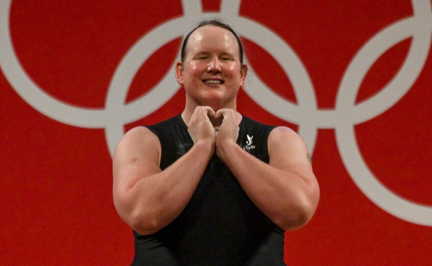 """After making history Monday, weightlifter Laurel Hubbard thanked the International Olympic Committee """"for living up to the Olympic values and showing that sport is for all and that weightlifting can be done by all types of people."""""""