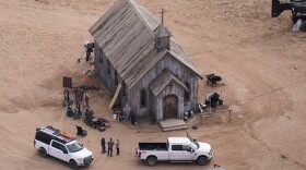 This aerial photo shows the Bonanza Creek Ranch in Santa Fe, N.M., Saturday, Oct. 23, 2021. Actor Alec Baldwin fired a prop gun on the set of a Western being filmed at the ranch last Thursday, killing the cinematographer, officials said.