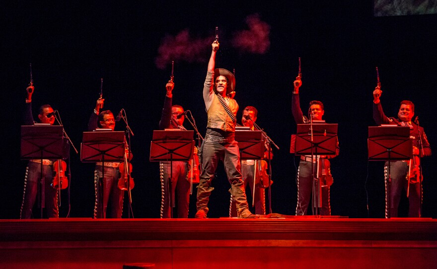 """Ricardo Rivera performs with Mariachi Vargas de Tecalitlán in the Mariachi opera, """"El Pasado Nunca Se Termina."""" The opera spans a century and two countries, Mexico and the U.S. The photo is from Lyric Opera in Chicago."""