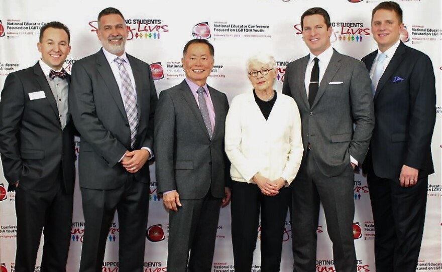 From Left to Right: Vinnie Pompei (Project Director & Conference Chair) Michael Yudin (Keynote Speaker) Actor George Takei (Honoree) Betty DeGeneres (Ellen's Mother) (Honoree) MSNBC Anchor Thomas Roberts (Honoree) City Councilmember, Fort Worth, Texas, Joel Burns (Honoree)