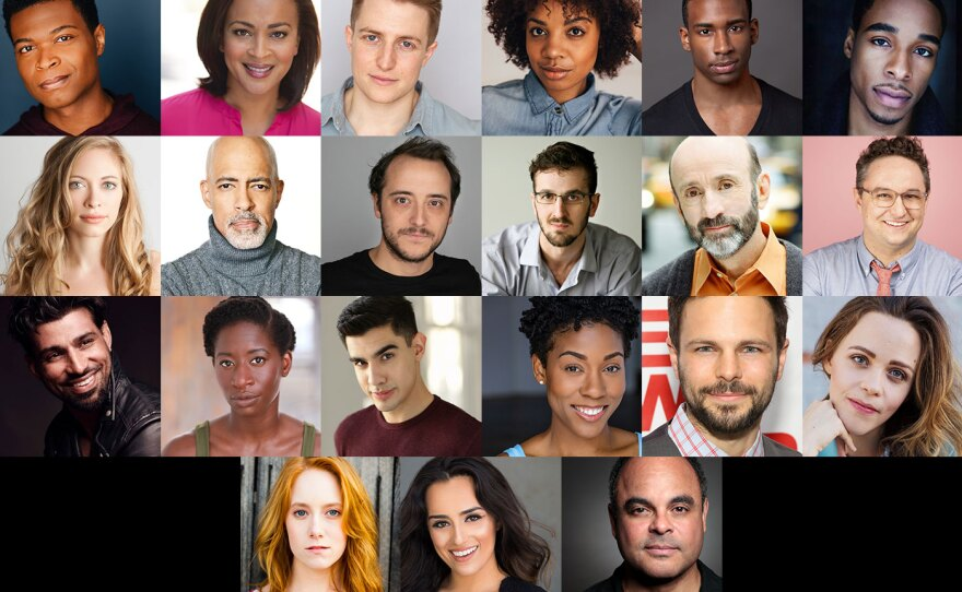"""The cast of """"Hamlet: On the Radio"""" in a photo collage."""