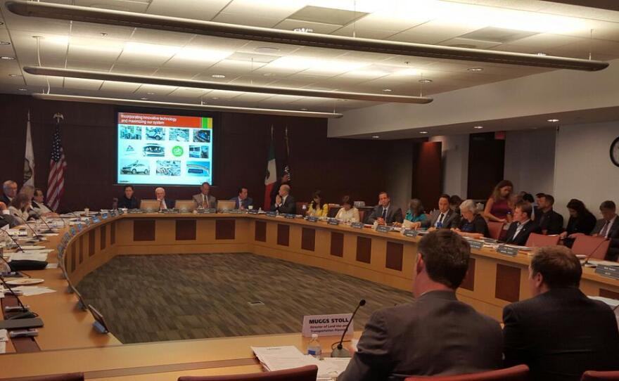 SANDAG's board discusses the regional transportation plan, Oct. 9, 2015.