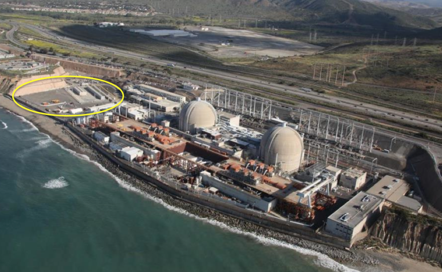 A bird's eye view of the San Onofre Nuclear Generating Station, highlighting the waste storage site, Oct. 8, 2015.