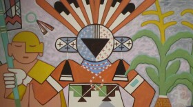 A painting of a katsina or friend at the Museum of Northern Arizona.