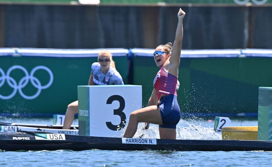 USA's Nevin Harrison celebrates after winning gold in the women's canoe single 200m final during the Tokyo 2020 Olympic Games at Sea Forest Waterway in Tokyo on Thursday.