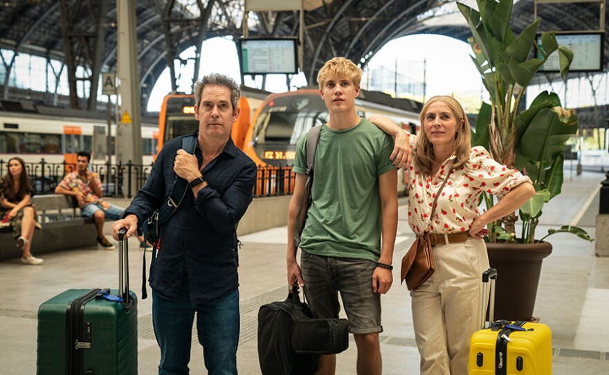 Tom Hollander as Douglas, Tom Taylor as Albie and Saskia Reeves as Connie in US On MASTERPIECE.