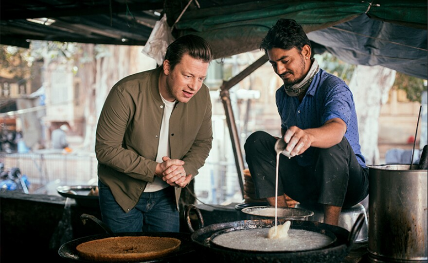 For brilliant ideas on how to get more vegetables in our lives, host Jamie Oliver (left) has been around the world meeting inspirational people making ordinary vegetables extraordinary.