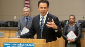 San Diego County Supervisor Nathan Fletcher, co-chairman of the county's COVID-19 subcommittee, speaks at a news conference on the coronavirus, March 19, 2020.