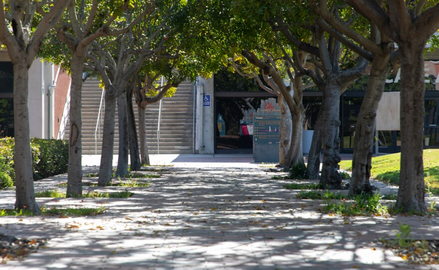 An empty walkway on the San Diego City College campus is shown on May 4, 2020.