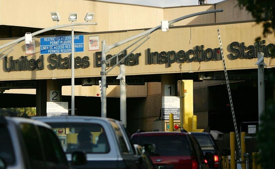 U.S. border inspection station at the San Diego-Mexico border crossing.