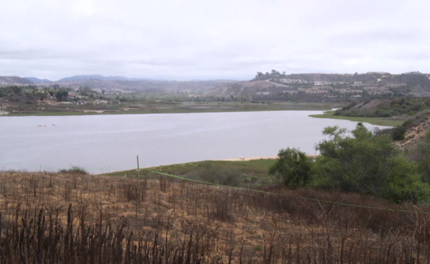 The Agua Hedionda Lagoon in Carlsbad, looking east toward 85 percent of the land that would be preserved under the Agua Hedionda 85/15 Plan, July 2015.
