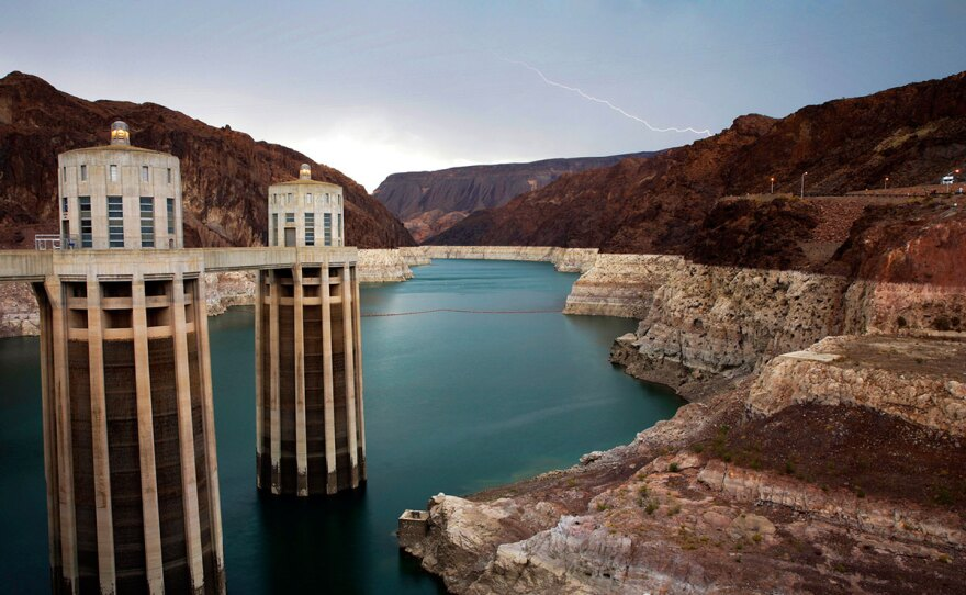Lightning strikes over Lake Mead near Hoover Dam that impounds Colorado River water at the Lake Mead National Recreation Area in Arizona, July 28, 2014.