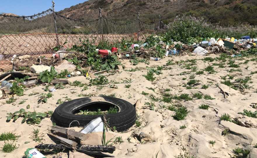 Trash caught by a collection boom in Goat Canyon near the U.S. Mexico border on Apr. 19, 2021.