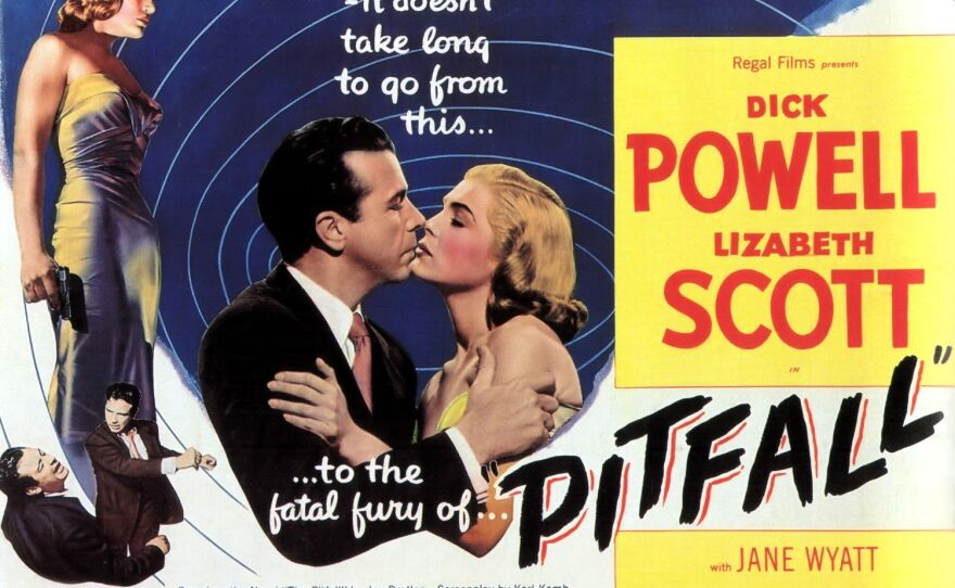 """Lobby card for the film noir """"Pitfall"""" starring Lizabeth Scott, an actress who should have received more recognition."""