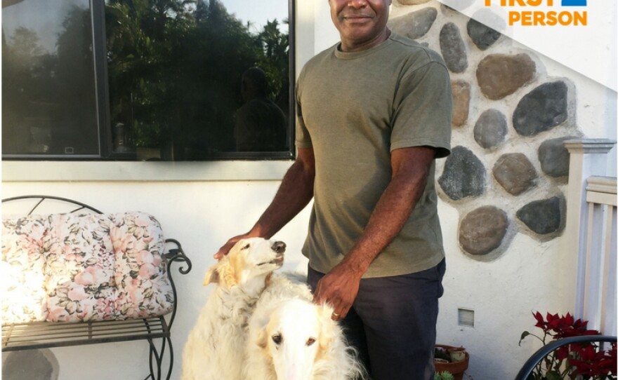 Vista resident Ike Iloputaife is pictured with his Russian wolfhounds on June 3, 2018.
