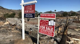 """""""For Sale"""" signs at a Rancho Monserate Country Club property devastated by the Lilac Fire, Jan. 22, 2018."""