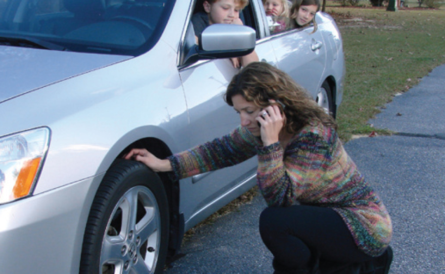 A woman in shown on the phone next to her car as passengers look outside.