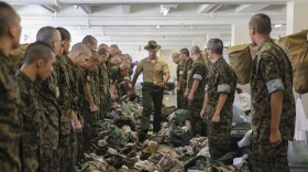 Recruits undergo an initial gear inspection during pick up at Marine Corps Recruit Depot San Diego, Aug. 11, 2017.