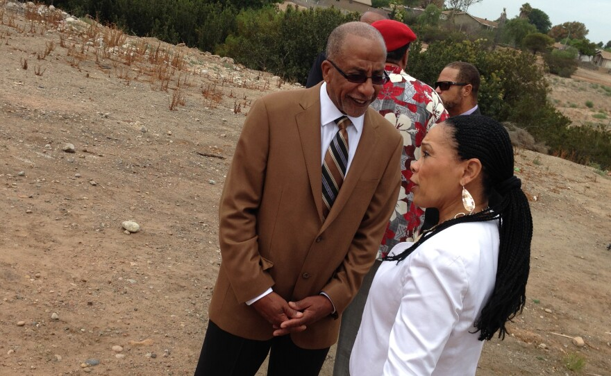 Civic San Diego President Reese Jarrett talks with City Councilwoman Myrtle Cole on a vacant lot at Euclid Avenue and Hilltop Drive, July 25, 2014.