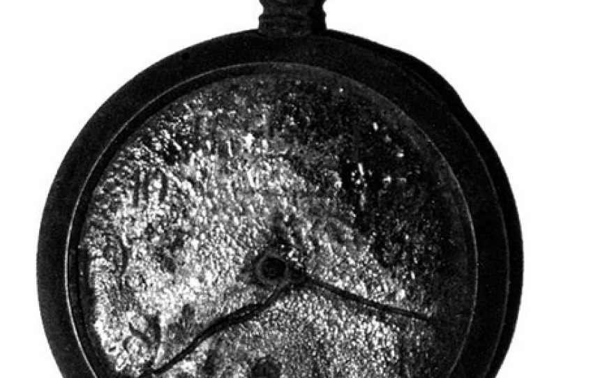 This undated photo shows the last item remaining from Shinji Mikamo's home after the atomic bomb was dropped on Hiroshima. It was later stolen while on display at the United Nations.