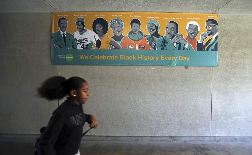 A Black History Day banner is on display at Animo Westside Charter Middle School during a summer session to introduce new students to the school they will attend in the fall, in the Playa Del Rey area of Los Angeles. July 13, 2018.