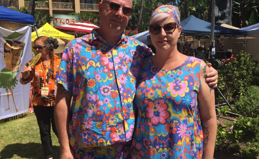 Steph Gunning and Mark Gunning, from San Diego, pose for a photo at Tiki Oasis, Aug. 12, 2017.
