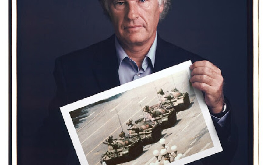 """Tim Mantoani's portrait of photographer Jeff Widener, who took the famous """"Tank Man"""" photograph in Tiananmen Square."""