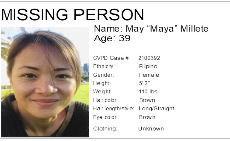 """An undated missing person poster for May """"Maya"""" Millete."""