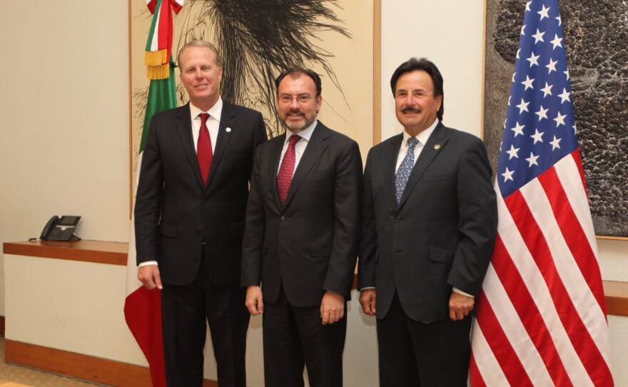 San Diego Mayor Kevin Faulconer and Tijuana Mayor Juan Manuel Gastélum meet with Mexico's foreign minister Luis Videgaray, March 27, 2017.