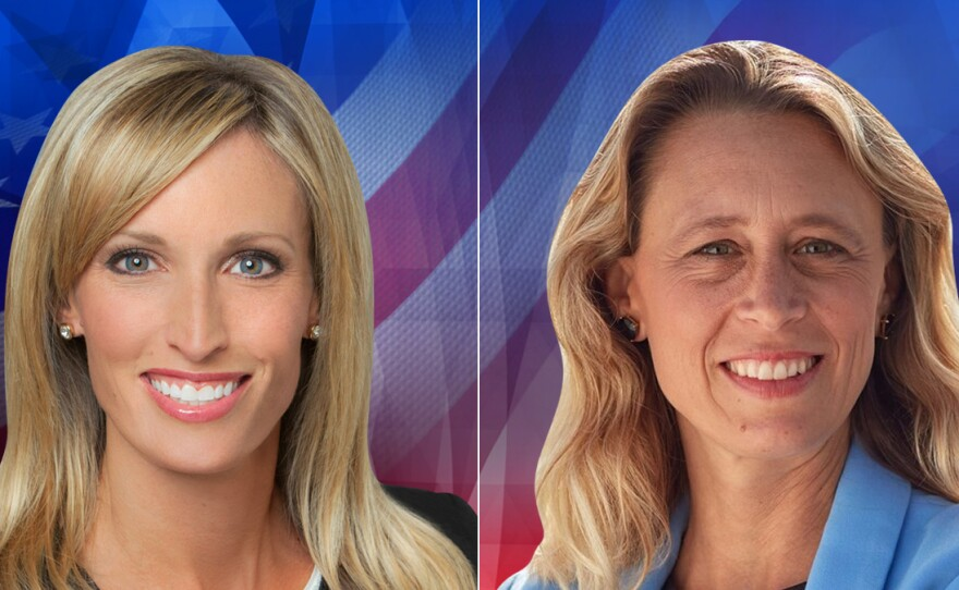 San Diego County District 3 supervisor candidates incumbent Republican Kristin Gaspar and Democrat challenger Terra Lawson-Remer are pictured in these undated candidate photos.
