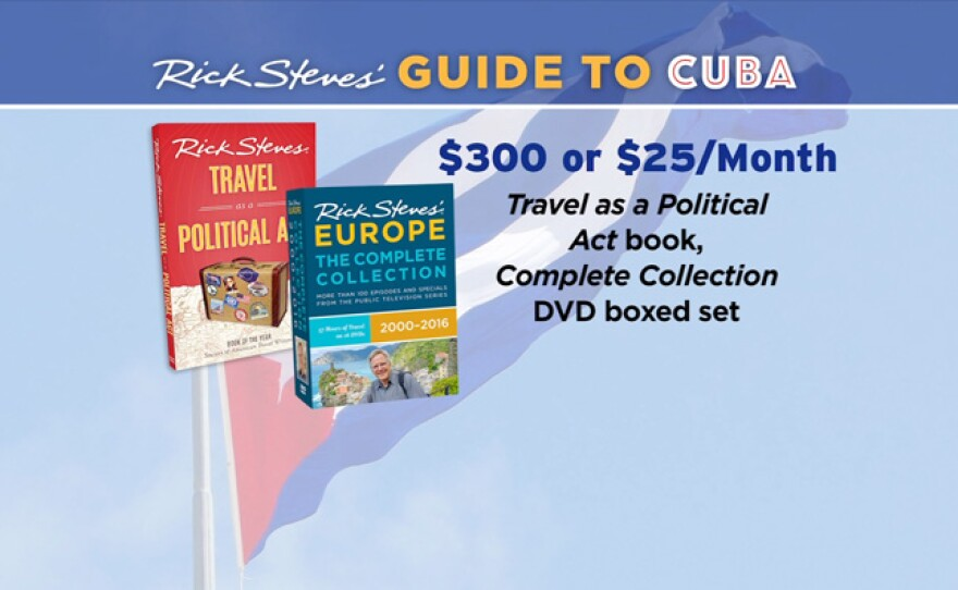 """Give $25 a month or $300 all at once and receive the """"Travel as a Political Act"""" book, the RICK STEVES' EUROPE Complete Collection 2000-2016 DVD boxed set and newsletter. This gift includes a KPBS License Plate Frame (if you're a new member). Also enjoy access to KPBS Passport and myKPBS Film Club. The """"Travel as a Political Act"""" book, """"Travel Skills"""" DVD and newsletter only is at the $120 level."""