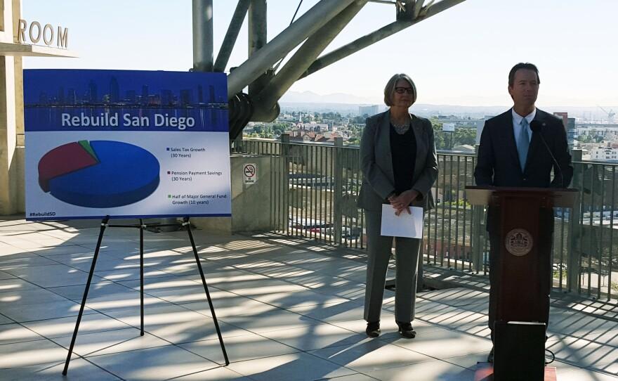 San Diego City Councilman Mark Kersey discusses his plan to fund infrastructure improvements in the city, while San Diego City Council President Sherri Lightner looks on, Dec. 2, 2015.