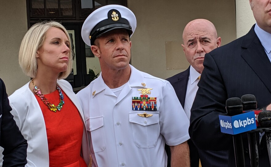 Andrea Gallagher with her husband Navy SEAL Edward Gallagher during a press conference, May 30, 2019.