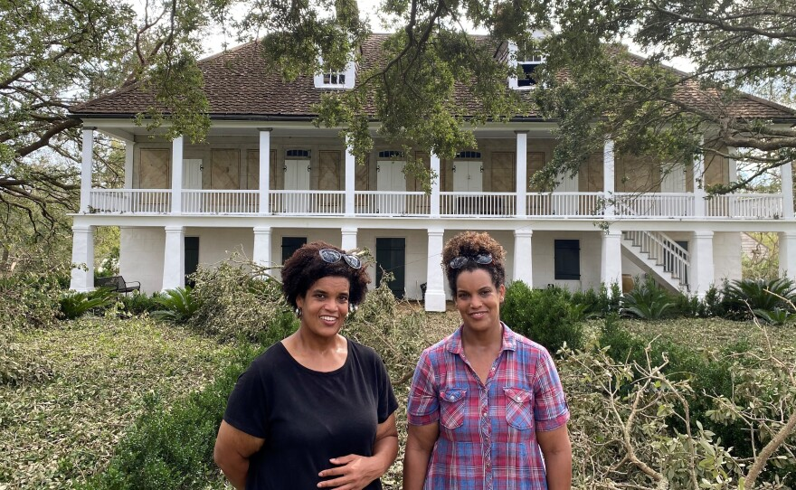 Jo (left), Joy Banner and their parents fled to the Big House on the Whitney Plantation to ride out Hurricane Ida last Sunday. They say their enslaved ancestors helped build the house.