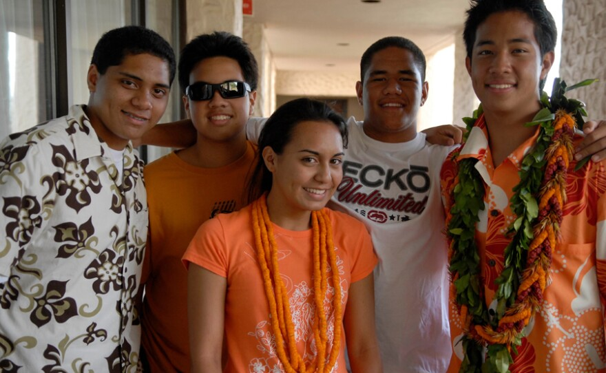 """Isaiah, Zach, Ka'ai, Brolin and Max, students featured in the film """"One Voice."""" Every year in Hawai'i, 2,000 high school students compete in the Kamehameha Schools Song Contest, in which young leaders direct their peers in singing Hawaiian music in four-part harmony."""