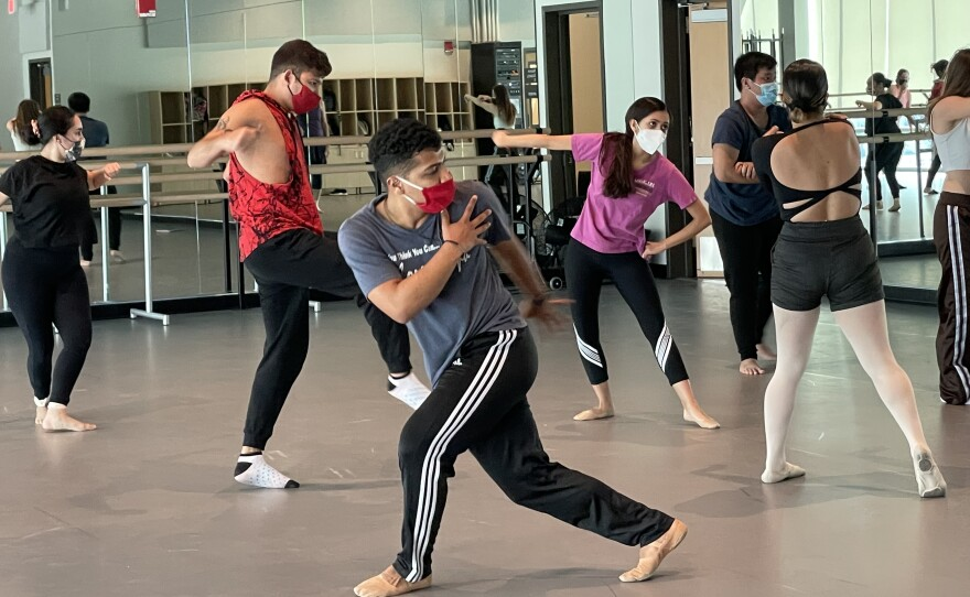 Dance students practice in Southwestern College's new performing arts center in Chula Vista on September 8, 2021.