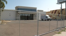 A view from outside the shelter located off of Sports Arena Boulevard, Sept. 13, 2021.