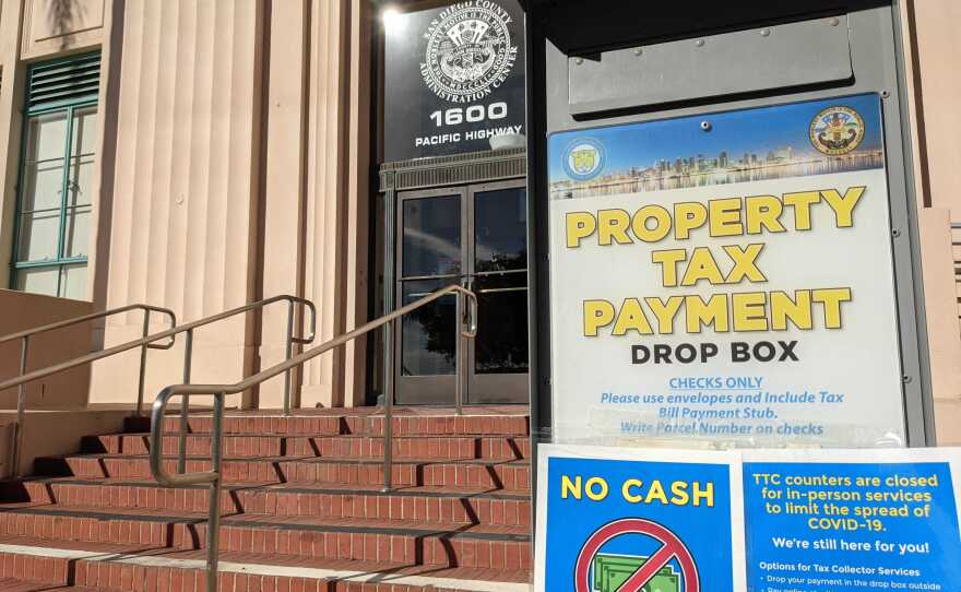 The property tax payment drop box in front of the San Diego County Administration Building, Dec. 13, 2020.