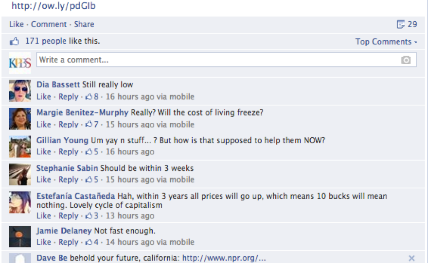 A screenshot of the conversation happening on Facebook.