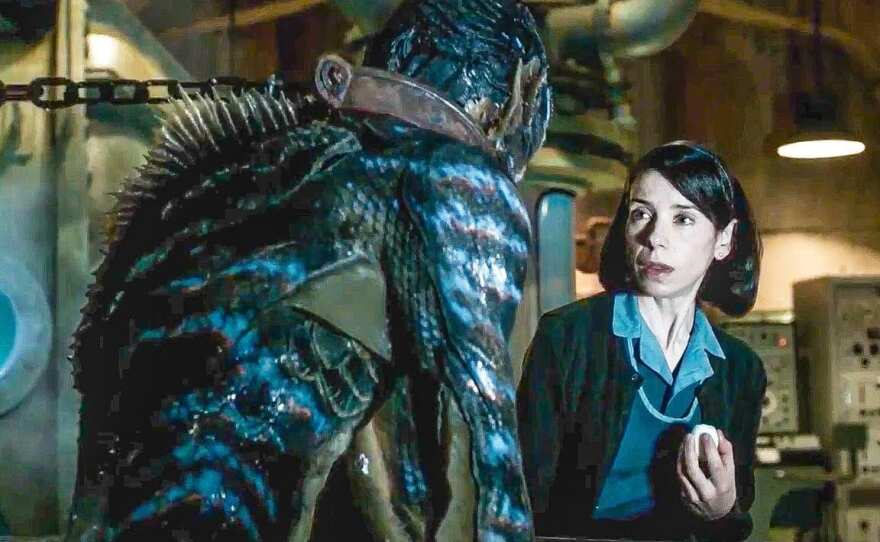"""Doug Jones plays an amphibious creature that attracts the attention of Sally Hawkins' cleaning woman in """"The Shape of Water."""""""