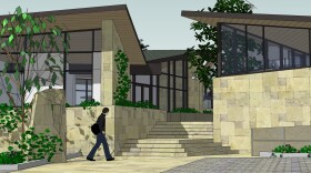 A rendering of a temporary Hillel Center for Jewish Life at 8976 Cliffridge Ave. is shown in this image.
