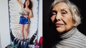 "Yolanda López, at left in 1978 as part of her ""Tableaux Vivant"" series by photographer Susan Mogul, and at right in an undated photo by photographer Alexa ""LexMex"" Treviño."