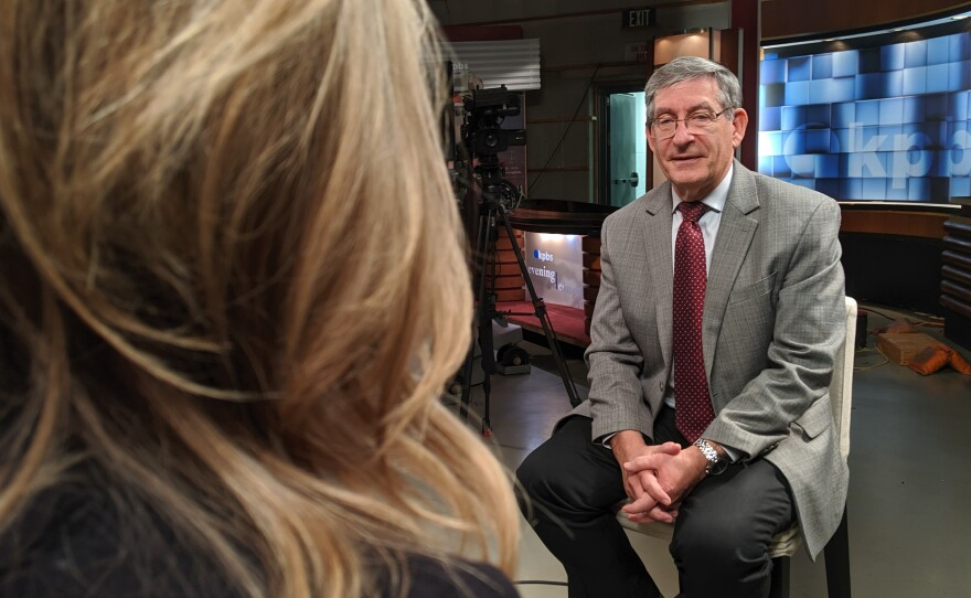 Dr. Ted Mazer speaks with KPBS Health Reporter Tarryn Mento in the Evening Edition studio, Oct. 29, 2019.